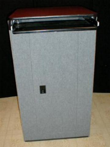 Featherlite Podium with metal keypad slideout tray & case Grey showtime fabric door in back