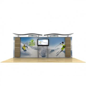 20ft Timberline Monitor Display Straight Fabric Sides and Slat Walls