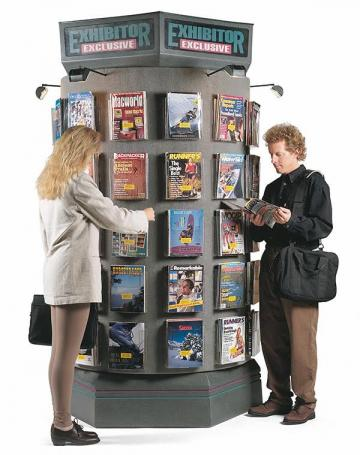 8' Tall x 4' Diameter Rotating Advertising Kiosk with Halogen Lights - Velcro Surface