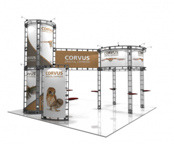 Excellent condition 20' x 20' curved, modern and sleek trade show booth display